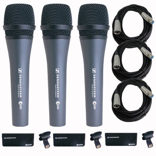 Sennheiser 3x e 835 Wired Cardioid Handheld Dynamic Lead Vocal Stage Microphone with Clip - With 3x Pyle PPMCL15 15ft Symmetric Microphone Cable, XLR Female to XLR Male by Sennheiser