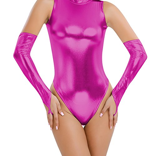 Metallic Shiny Costume Sexy (CHICTRY Women Sexy Metallic Wet Look Leather Fetish Long Gloves Party Dance Club Accessory Rose One Size)