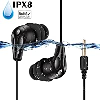 AGPTEK SE11 IPX8 Waterproof In-Ear Earphones, Coiled Swimming Earbuds with Stereo Audio Extension Cable, Black