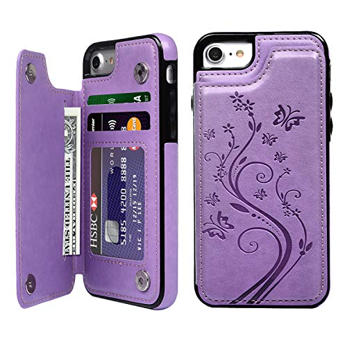 (SUPWALL iPhone 7 Card Holder Case, iPhone 8 Wallet Case Embossed Butterfly Slim Folio Leather Cover Shockproof Shell with Credit Card Slot Protective Skin for iPhone 7 & 8, Purple)