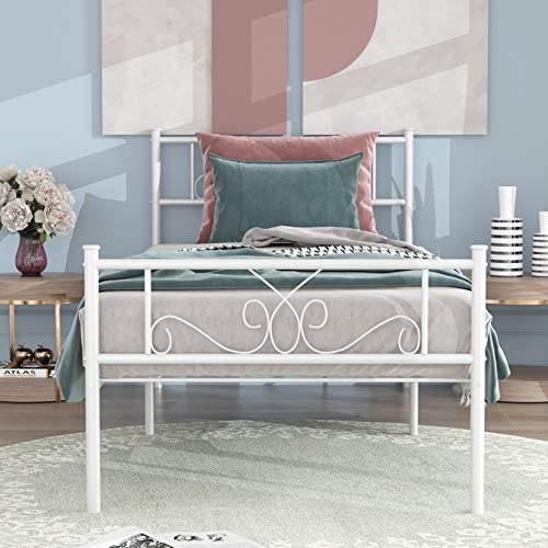 SimLife Single Bed Platform Kids Boys Adult No Box Spring Needed Princess White Twin Size Bed Frame with Headboard and Footboard Mattress Foundation 51jGpQY89OL