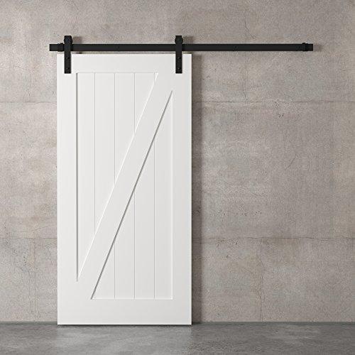 "Farmhouse Woodcraft 83"" White and Black Zurich ""Z"" Panel Sliding Wood Barn Door"