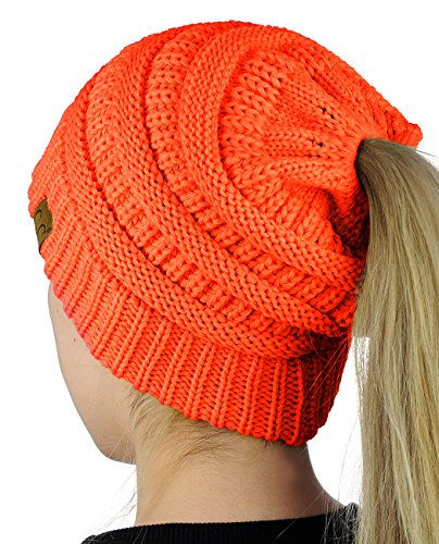 C.C BeanieTail Soft Stretch Cable Knit Messy High Bun Ponytail Beanie Hat, Neon Orange