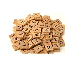 100 Scrabble Tiles - NEW Scrabble Letters - Wood Pieces - 1 Complete Set - Great for Crafts, Pendants, Spelling