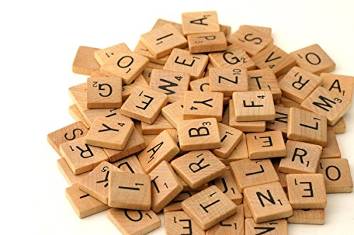400 Wood Scrabble Tiles - NEW Scrabble Letters - Wood Pieces - 4 Complete Sets - Great for Crafts, Pendants, Spelling ()