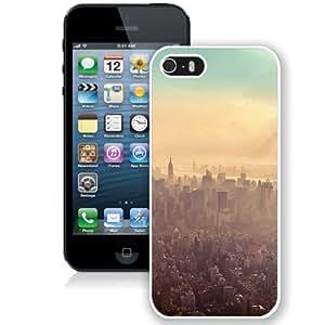 Fashionable Custom Designed iPhone 5S Phone Case With New York City Sunrise Haze_White Phone Case