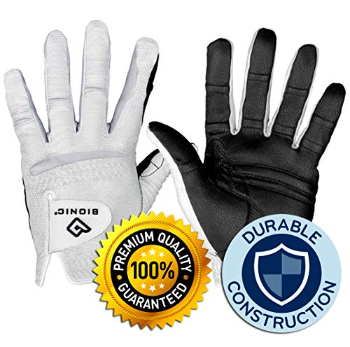 New Improved 2X Long Lasting Bionic RelaxGrip Golf Glove with Patented Double-Row Finger Grip System (Men's Medium Large, Worn on Left Hand)