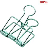 Loghot Large Size Retro Metal Hollow Out Binder Clip Invoice Bill Clip Decorative Paper Clips for Home Office School Use Pack of 10 (Green)