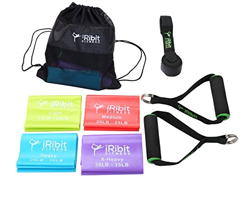iRibit Fitness 6.5ft Long Resistance Bands Set – Flat Latex Free Bands with Handles, Door Anchor, and Carrying Bag (4-Bands Set)