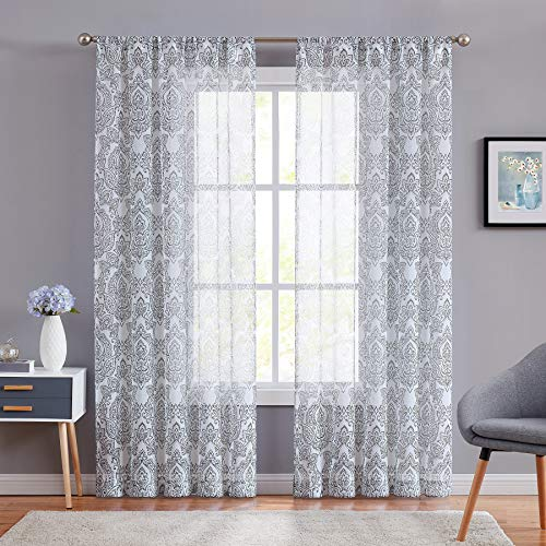 (ECODECOR Damask Print Grey Sheer Curtains 84 Inch Long Floral Pattern Window Curtain Panels for Bedroom Farmhouse Rod Pocket 2)