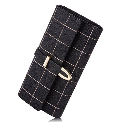 Fineway Women's Long Grid Buckle Leather Handbag Card Holder Purse Wallet - Bag Dior Buy Online