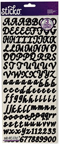 Sticko Letters/Numbers Sticker Value Pack, Black, Gold and Silver, 840-Pack (Scrapbook Letters Stickers)