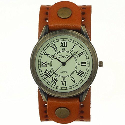 New Arrival Vintage Cow Leather Yellow Wide Strap Casual Copper Button Pale Gold Dial Quartz Watch