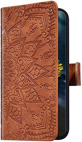 Uposao Kompatibel mit Samsung Galaxy A40 Handyhülle Leder Hülle Flip Schutzhülle Henna Mandala Muster Brieftasche Handytasche Wallet Bookstyle Case Cover Magnet Ständer Kartenfach,Braun