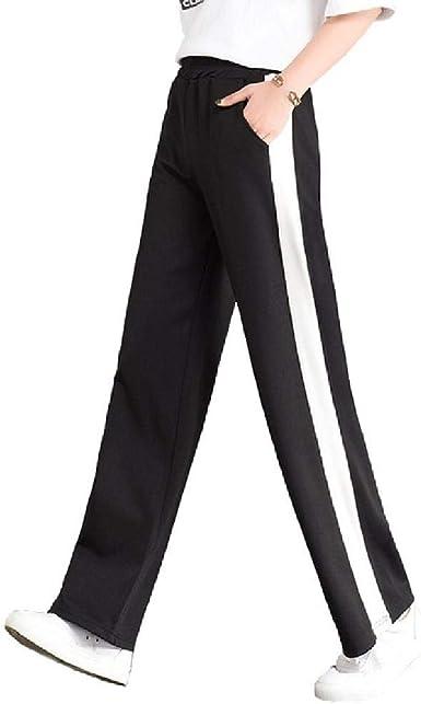 Pantalones Anchos Para Mujer Pantalones Planos Elasticos De Rayas De Cintura Alta Pantalon Largo Femenino Suelto Elegante Amazon Es Ropa Y Accesorios