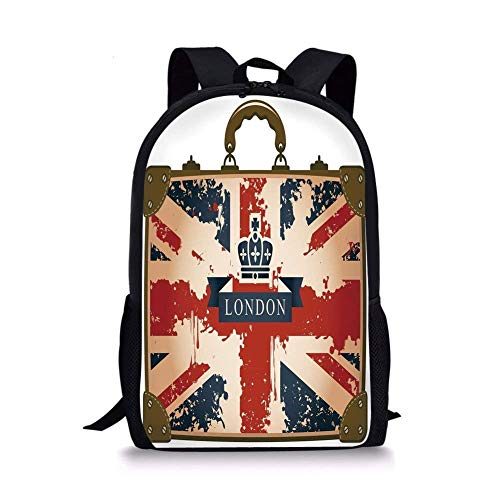 School Bags Union Jack,Vintage Travel Suitcase with British Flag London Ribbon and Crown Image Decorative,Dark Blue Red Brown for Boys&Girls Mens Sport Daypack