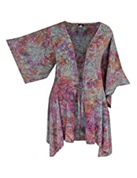 Womens PLUS SIZE Kimono Tunic Cardigan, Kimono Sleeve, One Size Fits 1x-3x