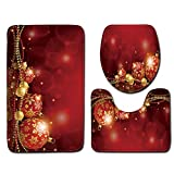 JPJ(TM) New❤Bath Carpet ❤3pcs Christmas Creative Non-Slip Bath Mat Bathroom Kitchen Carpet Doormats Decor (H)