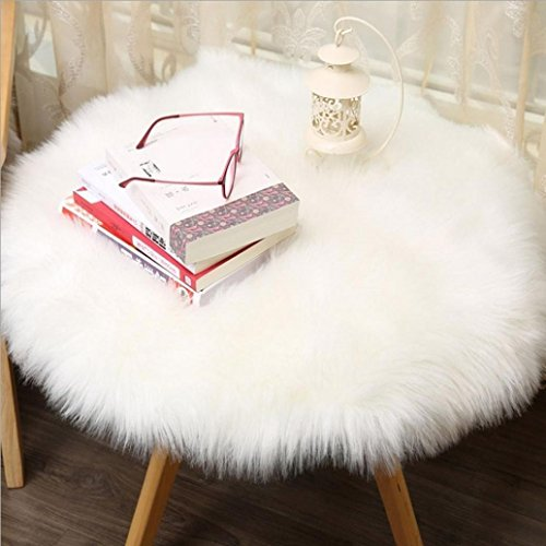 Astounding Auwer 18 X 18 Inch Faux Fur Artificial Sheepskin Fluffy Chair Seat Sofa Cover Round Carpet Mat Small Area Rug Plush Style Throw Rug Living Bedroom Pdpeps Interior Chair Design Pdpepsorg