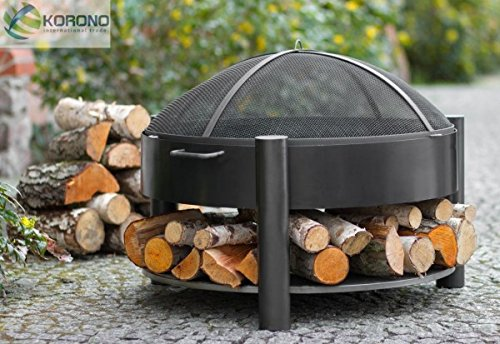 Korono Brazier 60 cm with 2 Handles & Shelf for Wood & Spark Guard Patio Fire Bowl/Open Fire – Fire Pit