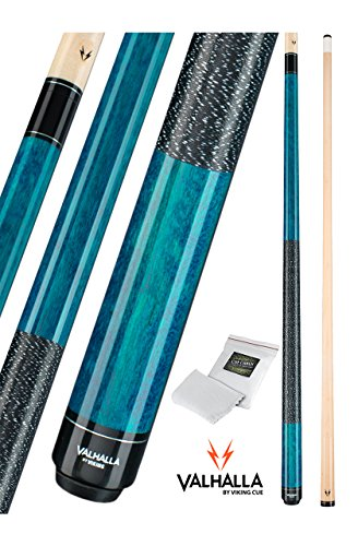 Valhalla by Viking 2 Piece Pool Cue Stick Irish Linen Wrap 16-21 oz. PLUS Rosin Bag (Blue VA113, 20 oz.)