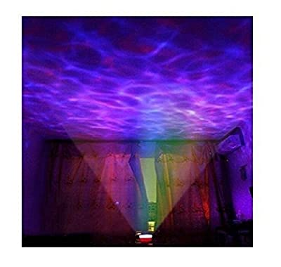ZJKC® Color Changing 12 Led Night Light Lamp+Romantic Relaxing Ocean Wave Projector and Music Player, Night Ocean Light, Water Wave Lamp, Battery-powered & USB-powered