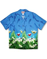 Floating Martini Men's Hawaiian Aloha Cotton Shirt