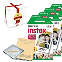 Fujifilm INSTAX Mini Instant Film 4 Pack (40 Films) for all fujifilm mini instant cameras - Photo Album - Microfiber Cloth - ~ Gift Packaging ~