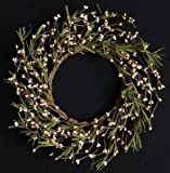 Grassy Pastel Pink Green Pip Berry Ring Mini Wreath Country Primitive Floral Décor