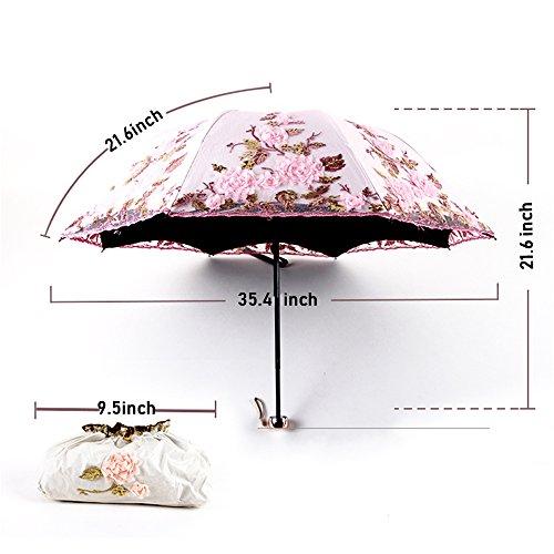 Honeystore Lace Parasol Decoration Bridal Shower Vintage Umbrellas for Wedding 3 Fold Beige by Honeystore (Image #7)