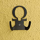 HeavenlyKraft Omega Steel Wall Hook Dual Holder for Living Room Coat Hat Robe Hanger Bathroom Towel Kitchen Strong Heavy Duty Garage Storage Organizer Utensil Hook Single, 4 X 3.14 X 1.4 Inch