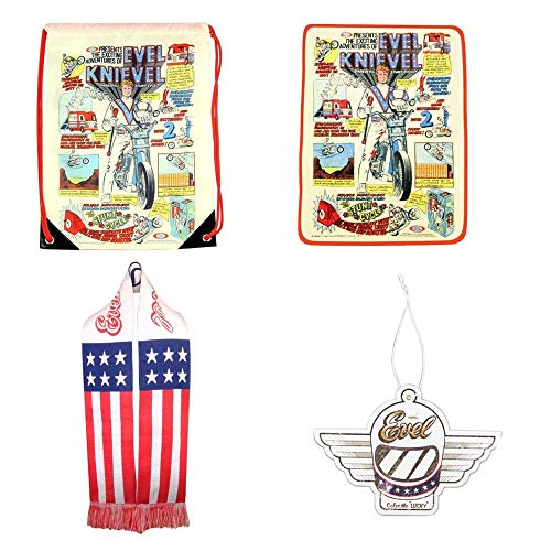 - Evel Knievel Gift Set: Scarf, Throw, Air Freshener, Drawstring Bag