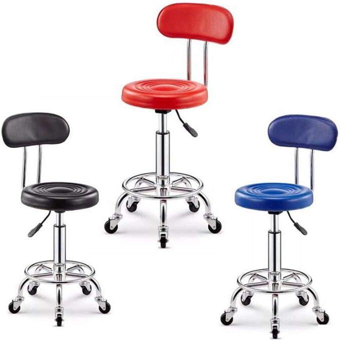WOCTP Chaise pivotante à roulettes pour salon de beauté, massage, coiffure, banc, chaise ergonomique, noir Bleu
