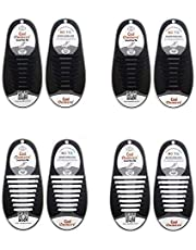 4 Pairs No Tie Elastic Shoelaces for Adults, Oumers Lazy No-Tie Silicone Elastic Shoe Laces Running Shoelaces Athletic Shoe laces