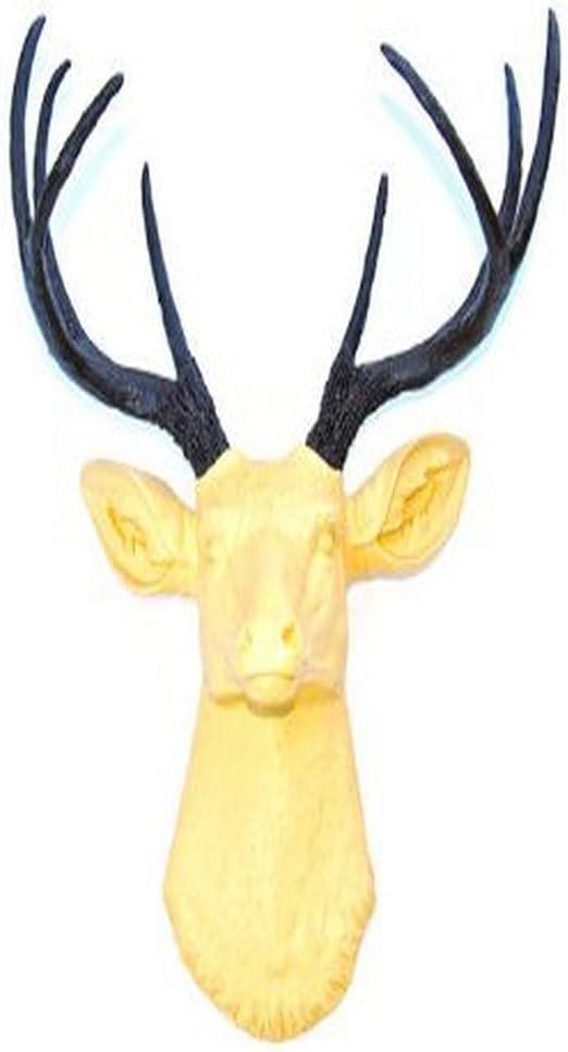 Near and Deer Faux Taxidermy Deer Head Wall Mount Yellow//Metallic Brown