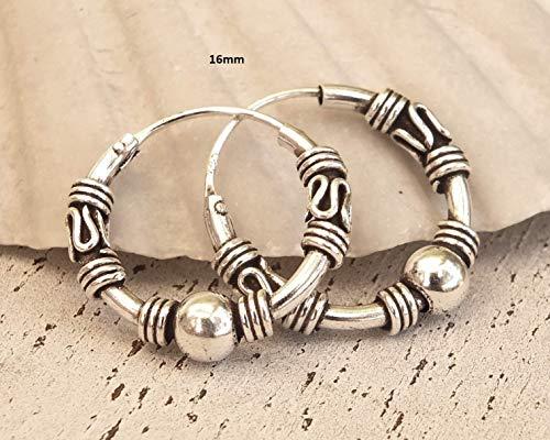 Pair of 16mm Sterling Silver Hoop Earrings, Handmade Hoop Earrings for Women, bali hoop earrings sterling silver, Sterling Silver Hoops