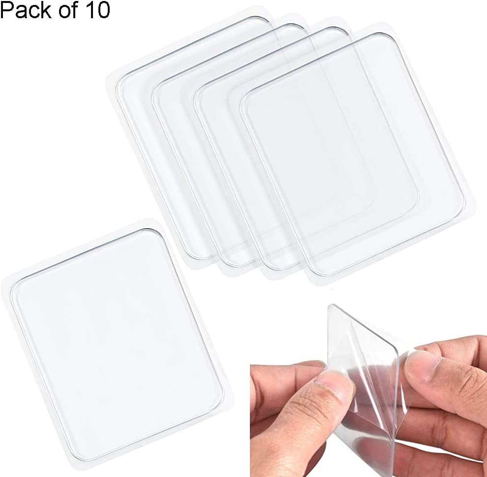 Ywhomal Traceless Super Sticky Gel Pads Anti-Slip Double Sided Gripping Pads for Auto Car Home Cell Phone Glass Photo Holder with Easy Remove Washable Reusable Design Pack of 10 (Transparent)
