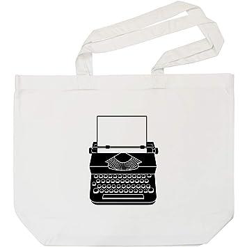 Azeeda Máquina de Escribir Bolso de Compras Blanco (BG00000604)