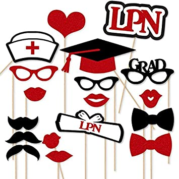 Paper Gala LPN Nursing School Graduation Party Photo Booth Props 18 Pc Rn BSN Prop Set