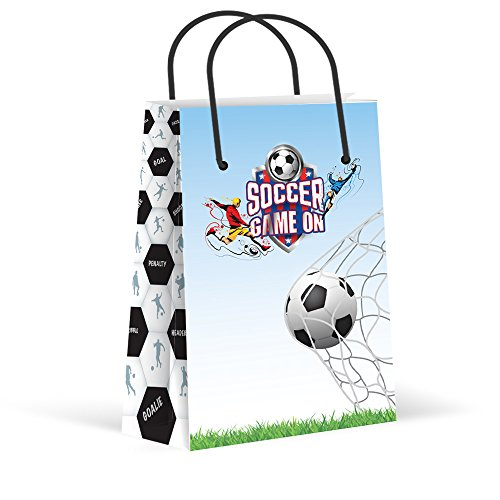 Premium Soccer Party Bags, Treat Bags, New, Gift Bags,Goody Bags, Soccer Party Favors, Soccer Party Supplies, Decorations, 12 Pack