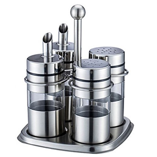 - QIN.J.FANG 304 Stainless Steel Cruet Set|Stainless Steel and Acrylic Oil and Vinegar Dispenser Bottles, Salt and Pepper Shakers Condiment Server Holder, 4 Piece