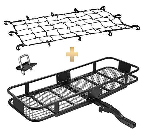 "Mockins Hitch Mount Cargo Carrier & Net | The Steel Cargo Basket is 60"" Long X 20 Wide X 6"" Tall A Hauling Weight 500 lbs & A Folding Shank to Preserve Space When Not in Use … … … … … … …"
