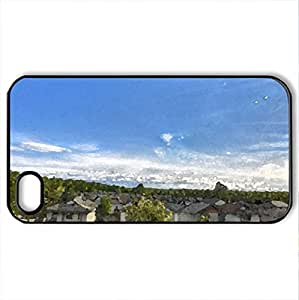 lintao diy Beautiful Panoramic Neighborhood - Case Cover for iPhone 4 and 4s (Houses Series, Watercolor style, Black)