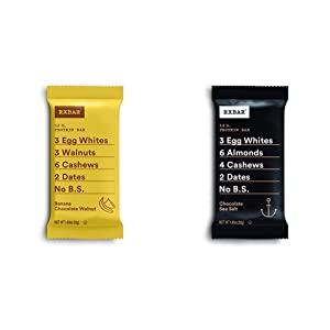 RXBAR, Banana Chocolate Walnut, Protein Bar, 1.83 Ounce Breakfast Bar with Chocolate Sea Salt, Protein Bar, 1.83 Ounce (12 count), High Protein Snack