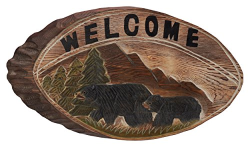 Atmosphere Leisure Hand Carved Black Bear Welcome Sign Sculpture Figurine. Hand Carved & Made 100% Solid Pine Wood.