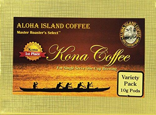Aloha Island Coffee KONA-POD, Variety Pack of our Premium Line Kona Magnum Opus, 100% Pure Kona Coffee (10g), 36-Count Coffee Pods