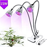 Premium Three-Head LED Grow Light 15W Clip Desk Grow Lamp 360 Adjustable Gooseneck LED Grow Lights for Indoor Plants, Plant Growing, Hydroponic Garden, Greenhouse, Gardening, Office