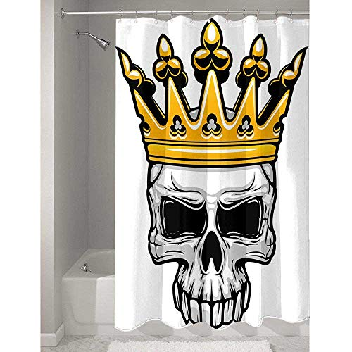 Douglas Hill King Queen Size Polyester Shower Curtain Hand Drawn Crowned Skull Cranium with Coronet Tiara Halloween Themed Image Stylish Bathroom Style W79 x L72 Inch Golden and Light Grey]()