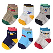 Flanhiri Baby Boys Toddler Non Skid Cotton Socks with Grip (0-6 Months, 6 Designs/Set 2)