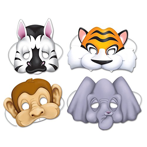 Jungle Animal Masks   (4/Pkg)